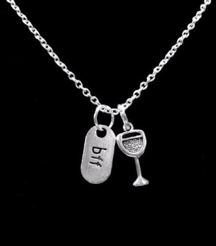 BFF Wine Glass Best Friends Gift For Best Friend Necklace