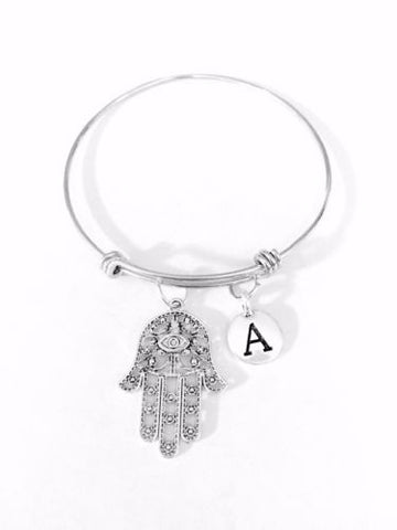 Adjustable Bangle Charm Bracelet Initial Hamsa Hand Eye Of God Fatima Jewish