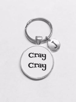 Choose Initial, Cray Cray Best Friend Sister Gift Keychain
