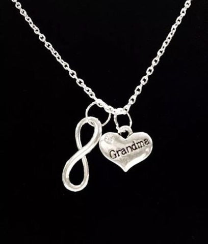 Infinity Grandma Grandmother Granny Nana Heart Christmas Gift Necklace