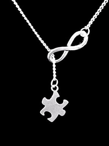 Puzzle Piece Autism Awareness, Friend Mom Gift Mother's Day Lariat Necklace