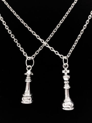 2 Necklaces King And Queen Chess Piece His And Hers Anniversary Gift Couples Set