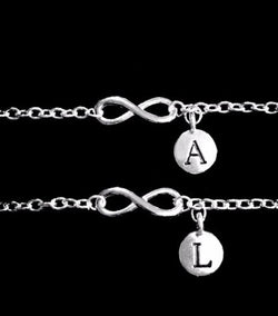Choose Initial Best Friend Infinity Friendship Sister Charm Bracelet Gift Set