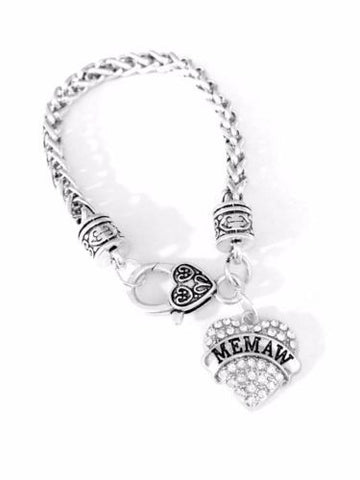 Crystal Memaw Heart Gift For Grandma Grandmother Charm Bracelet