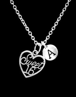 Choose Initial Letter Sweet 16 Sixteen Gift For Her Birthday Daughter Necklace