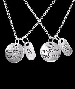 No Matter Where BFF Long Distance Best Friend Friendship Gift Necklace Set