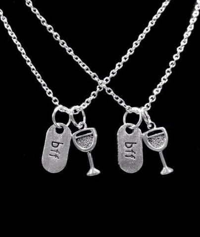 BFF Wine Glass Best Friends Gift For Best Friend Necklace Set