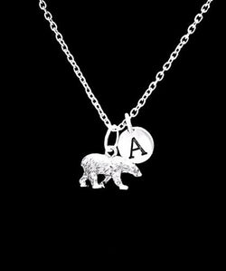 Choose Initial Polar Bear Animal Mama Bear Mother's Day Monogram Gift Necklace