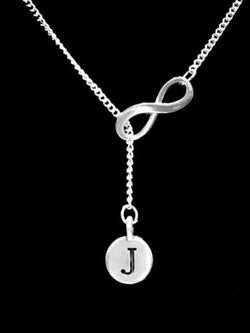 Choose Initial, Infinity Letter Lariat Best Friend Sister Gift Necklace