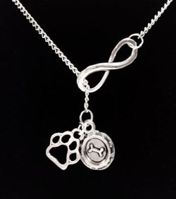Infinity Paw Print Dog Bowl Veterinarian Dog Lover Gift Lariat Necklace