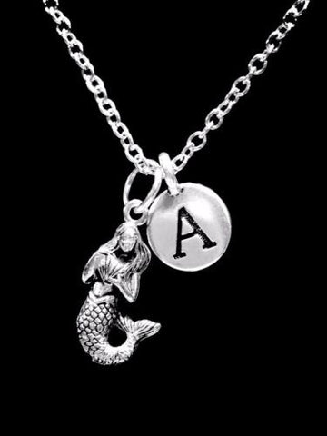 Initial Mermaid Sea Ocean Beach Nautical Animal Nature Gift Charm Necklace
