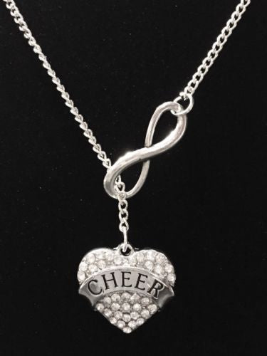 Infinity Crystal Cheer Cheerleader Cheerleading Mom Mother Lariat Style Necklace