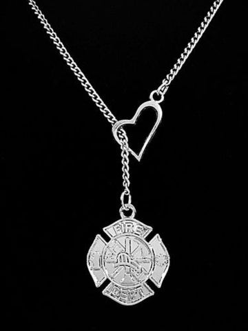 Maltese Cross Fireman Firefighter Girlfriend Wife Gift Fire Dept Lariat Necklace
