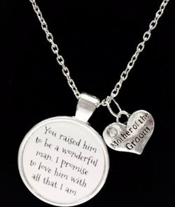 Mother Of The Groom I Promise To Love Him With All That I Am Wedding Necklace