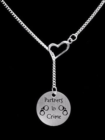 Partners In Crime Gift Sister Best Friend Mother Daughter Heart Lariat Necklace