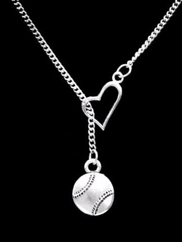 Baseball Softball Heart Sports Gift Mom Daughter Lariat Necklace