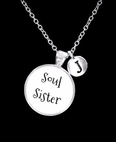 Choose Initial, Soul Sister Best Friend Sister Friendship Gift Necklace