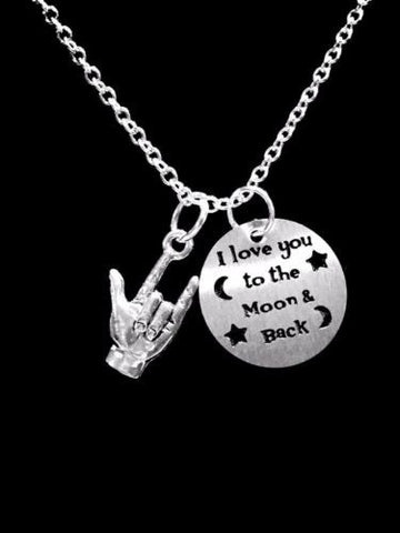 I Love You To The Moon And Back Sign Language Hand Symbol Gift Charm Necklace