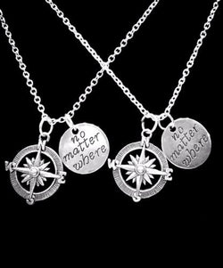 No Matter Where Compass Long Distance Best Friend Sister Mom Gift Necklace Set
