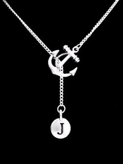 Choose Initial, Anchor Letter Lariat Best Friend Sister Nautical Gift Necklace