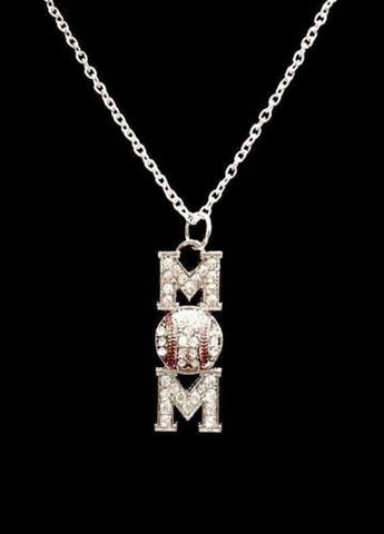 Crystal Baseball Mom Softball Mother's Day Gift Sports Charm Necklace