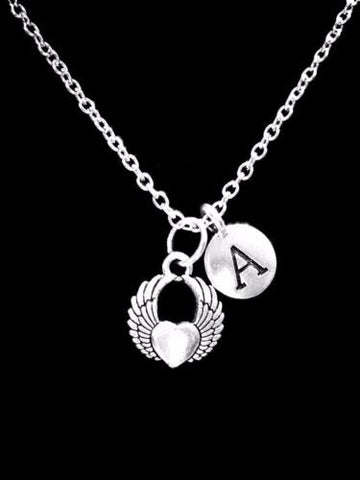 Choose Initial, Angel Wing Heart Sister Mom Daughter Valentine Gift Necklace