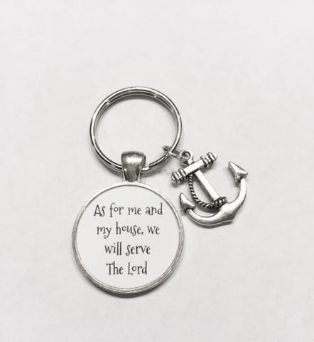 Anchor, As For Me And My House We Will Serve The Lord Christian Keychain