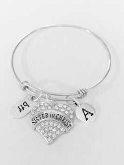 Initial Sister In Christ BFF Best Friend Gift Adjustable Bangle Charm Bracelet