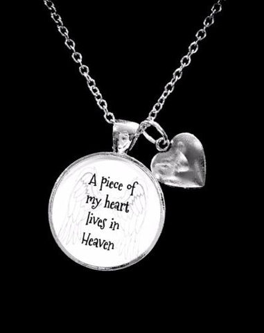 A Piece Of My Heart Lives In Heaven Guardian Angel Heart In Memory Necklace