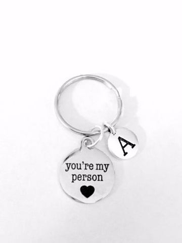 You're My Person Initial BFF Best Friend Friendship Sister Gift Keychain
