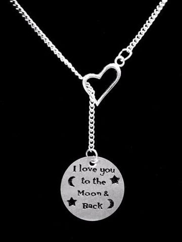 I Love You To The Moon And Back Valentine Gift Wife Heart Lariat Necklace