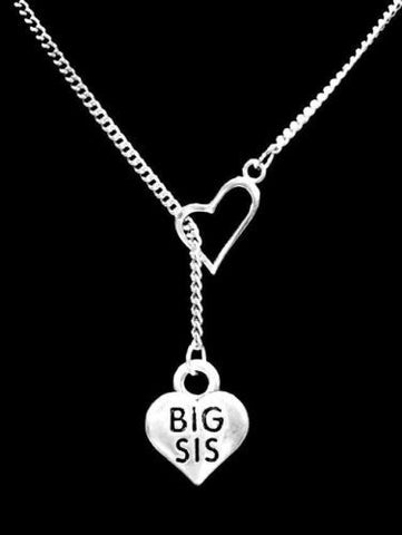 Heart Big Sis Sister Christmas Gift Lariat Necklace