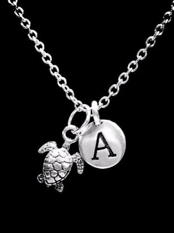 Initial Sea Turtle Ocean Beach Nautical Animal Nature Gift Charm Necklace