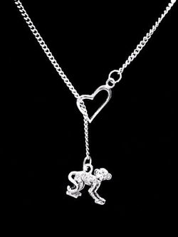 Monkey Animal Nature Friend Sister Mother's Day Mom Gift Heart Lariat  Necklace