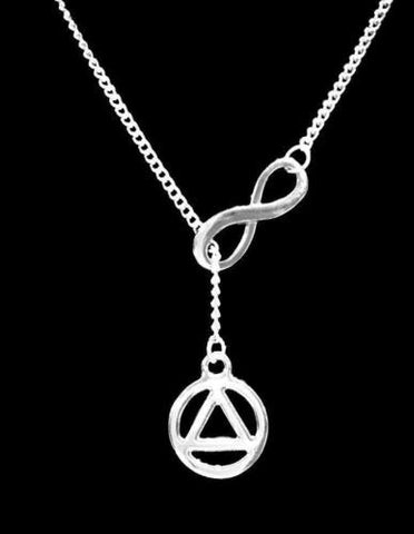 Recovery Symbol Infinity Lariat Gift Charm Necklace