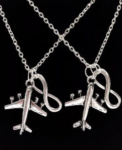 2 Necklaces Airplane Long Distance Infinity Sister Best Friends Couple's Set