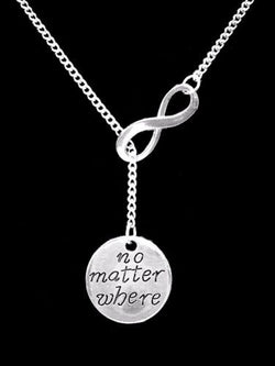 No Matter Where Long Distance Best Friend Sister Mom Gift Lariat Necklace