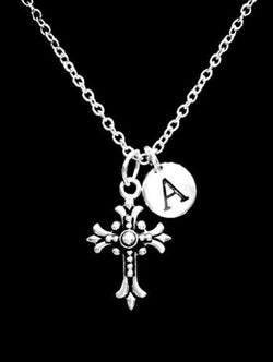Choose Initial Letter Fleur Cross Christian Religious Faith Gift Necklace