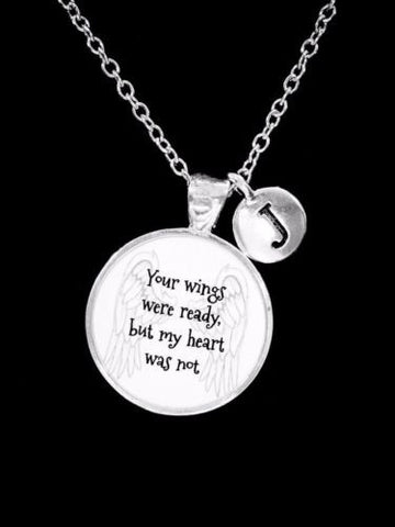 Choose Initial, Your Wings Were Ready Angel In Memory Remembrance Gift Necklace