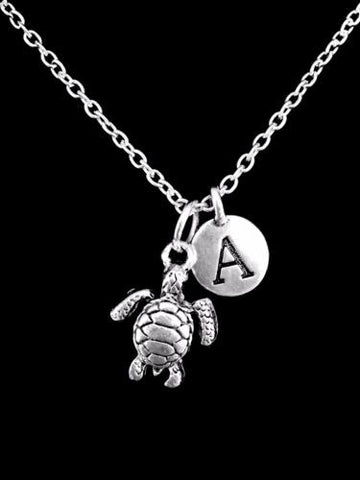 Choose Initial, Sea Turtle Ocean Beach Nautical Animal Gift Charm Necklace