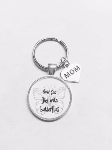 Mom Now She Flies With Butterflies In Memory Guardian Angel Wing Keychain