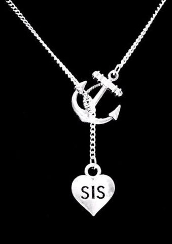 Anchor Sis Sister Christmas Gift Y Lariat Style Necklace