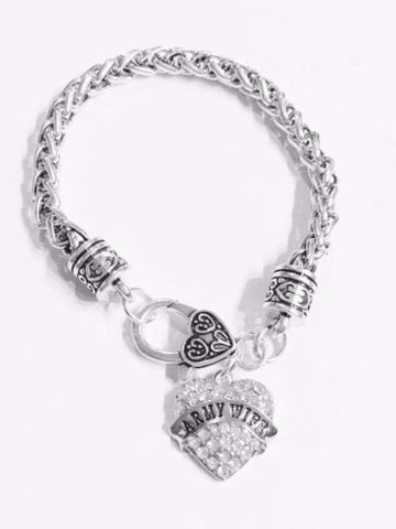 Crystal Army Wife Heart Gift Charm Bracelet