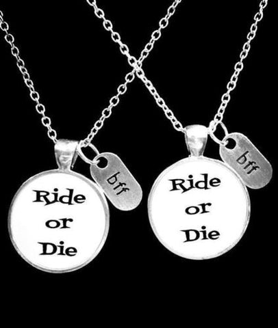 Best Friend Ride Or Die Bff Friendship Partners In Crime Gift Necklace Set