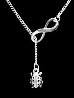 Lady Bug Charm Gift Animal Daughter Infinity Lariat Necklace