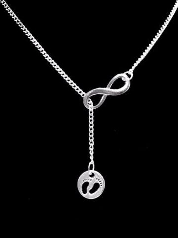 Guardian Angel Baby Footprints Mom Gift In Memory Infinity Y Lariat Necklace