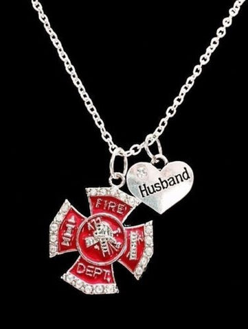 Red Maltese Cross Firefighter Husband Fireman Firefighters Gift Charm Necklace