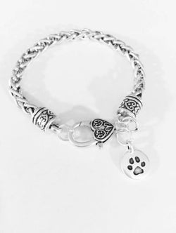 Paw Print Animal Dog Cat Lover Mother's Day Gift Veterinarian Charm Bracelet