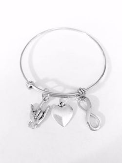 Adjustable Bangle Charm Bracelet I Love You Sign Language Hand Infinity Heart