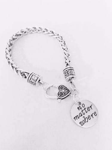 No Matter Where Long Distance Best Friend Sister Mom Gift Charm Bracelet